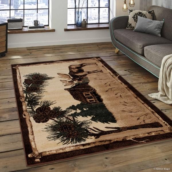 Walmart Moose Rug: Shop Allstar Berber Woven Soft Moose Cabin Theme Rug