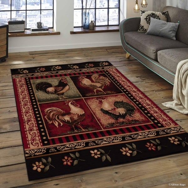 Shop Allstar Red Woven Soft Southwest Rooster Theme Rug