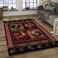 """Allstar Red Woven Soft Southwest Rooster Theme Rug (7' 7"""" X 10' 6"""")"""
