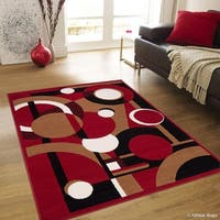 "Allstar Red Ultra-Soft Geometric Shape Variety Rug (7' 7"" X 10' 6"")"