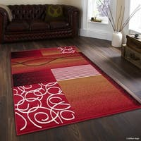 """Allstar Red Modern With Wavy Geometric Shapes And Lines Rug (7' 7"""" X 10' 6"""")"""