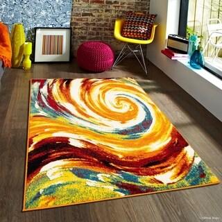 """Allstar Woven Modern Abstract Swirl Rug (7' 10"""" X 10')"""