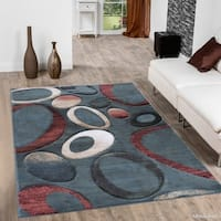 "Allstar Teal Modern Carved Circle Distressed Design Rug - 7' 9"" X 10' 5"""