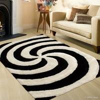 Allstar Black White Shaggy/ 3D Spiral Contemporary Hand Made Rug