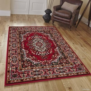 "Allstar Red Woven Traditional Persian Floral Design Rug (7' 7"" X 10' 6"")"