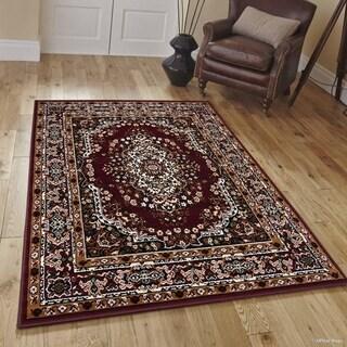 "Allstar Burgundy Woven Traditional Persian Floral Design Rug (7' 7"" X 10' 6"")"