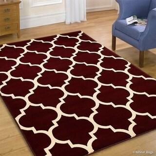 "Allstar Burgundy Wool-Touch Woven Moroccan Rug (7' 7"" X 10' 5"")"