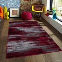 "Allstar Red Exclusive Modern Brush Streak Design Rug (7' 10"" X 10')"