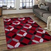"Allstar Red Modern Octagon Abstract Design Rug (7' 10"" X 10')"