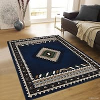 "Allstar Navy Blue Woven Southwest Contemporary Rug (7' 10"" X 10' 2"")"