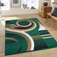 "Allstar Green Modern Abstract Design Rug (7' 7"" X 10' 6"")"