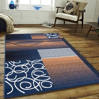 Allstar Wavy Geometric Shapes And Lines Rug