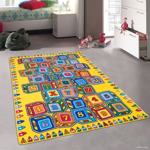 """Allstar Kids Learn Abc Alphabet Letters Numbers Cubes Rug - 7' 3"""" X 10' 2"""""""