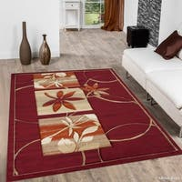 """Allstar Red Distressed Floral Design Contemporary Rug (7' 9"""" X 10' 5"""")"""