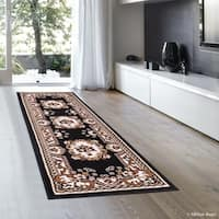 Allstar Black Woven Traditional Persian Floral Design Rug