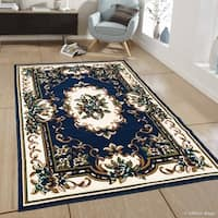 Allstar Navy Blue Woven Traditional Persian Floral Design Rug