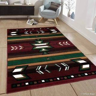 "Allstar Burgundy Woven Traditional Southwestern Geometric Rug (7' 7"" X 10' 6"")"