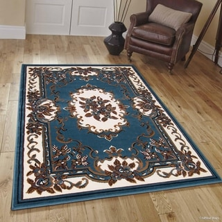 "Allstar Light Blue Woven Traditional Persian Floral Rug (7' 7"" X 10' 6"")"