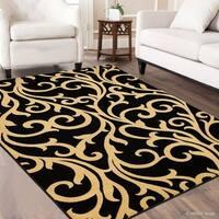 "Allstar Black Wool-Touch Woven Modern Oriental Design Rug (7' 7"" X 10' 5"")"