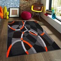 "Allstar Orange Exclusive Modern Transitional Linear Design Rug (7' 10"" X 10')"
