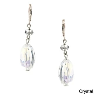 Silvertone Large Faceted Glass Oval Drop Earring