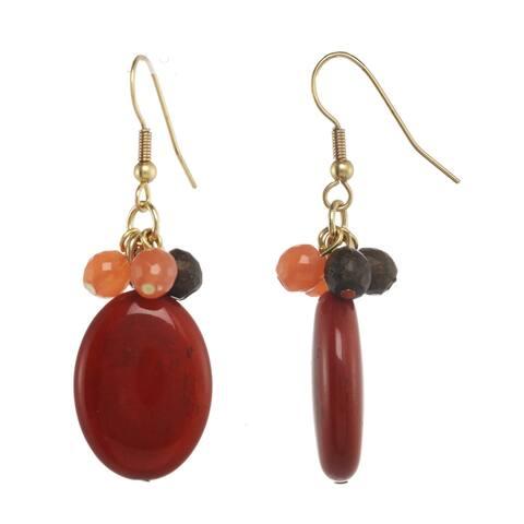 Coral & Brown Stone Cluster Drop Earrings