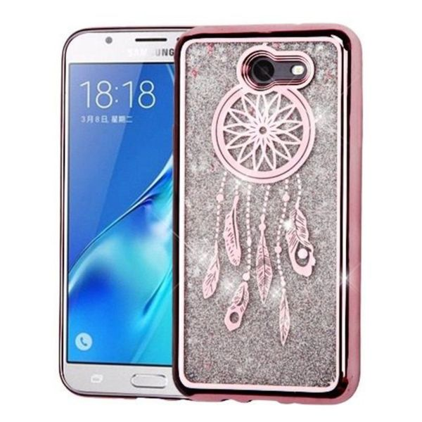 Insten Rose Gold Dreamcatcher Hard Snap-on Dual Layer Hybrid Case For Samsung Galaxy J7