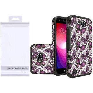 Insten Purple/ White Butterflies Hard Snap-on Dual Layer Hybrid Case Cover For LG Fiesta LTE/ K10 Power/ X Charge/ X Power 2 (Option: Purple)