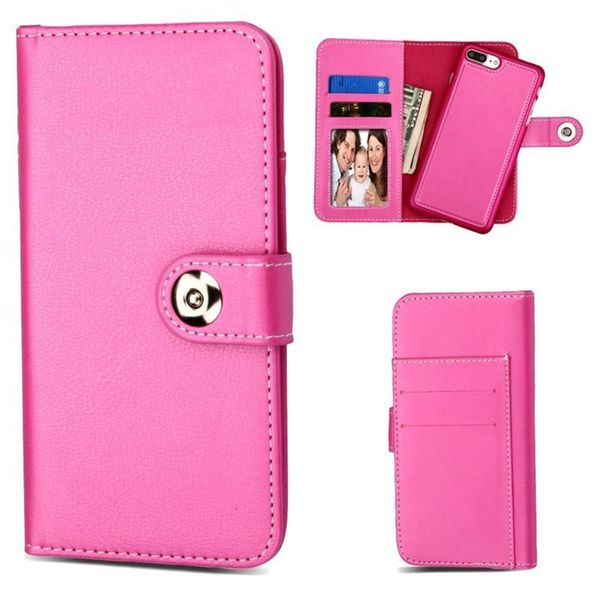 Insten Hot Pink Detachable Magnetic Leather Case Cover with Wallet Flap Pouch For Apple iPhone 6 Plus/6s Plus/7 Plus