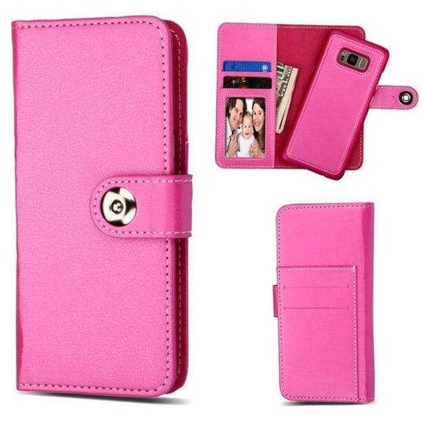 Insten Hot Pink Detachable Magnetic Leather Case Cover with Wallet Flap Pouch/Photo Display For Samsung Galaxy S8