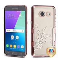 Insten Rose Gold Spring Flowers Hard Snap-on Dual Layer Hybrid Case For Samsung Galaxy Amp Prime 2/Express Prime 2/J3 (2017)
