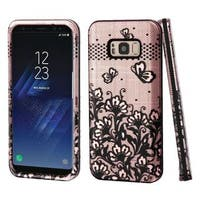 Insten Rose Gold/Black Lace Flowers Hard Snap-on Dual Layer Hybrid Case Cover For Samsung Galaxy S8 Plus S8+