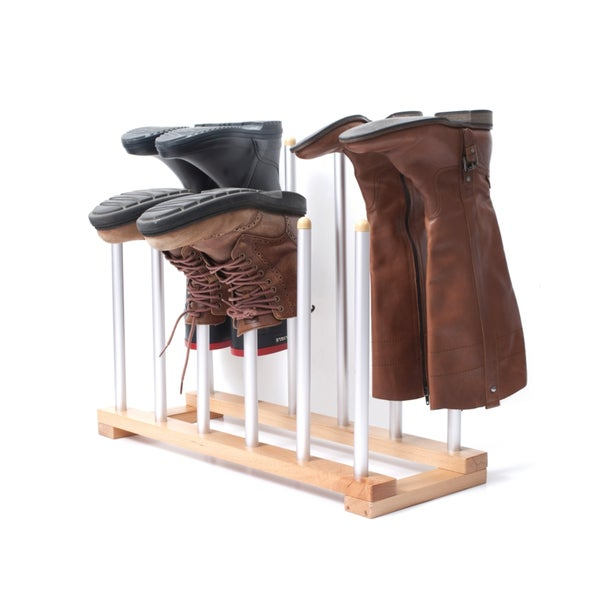 INNOKA 6 Pairs Standing Wooden/ Aluminum Boot Rack Shoes Organizer Closet  Storage For Riding Boots