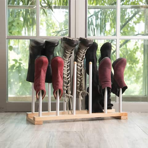 INNOKA 6 Pairs Standing Wooden/ Aluminum Boot Rack Shoes Organizer Closet Storage for Riding Boots/ Rain Boots/ Shoes