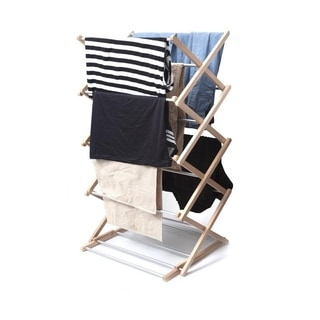 INNOKA 4-Tier Wooden Stackable Foldable Clothes Laundry Drying Rack with Sturdy Base in Smart Adjustable Design