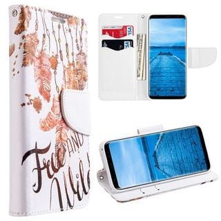 Insten Multi-Color Free and wild Leather Case Cover Lanyard with Stand/Wallet Flap Pouch For Samsung Galaxy S8