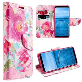 Insten Multi-Color Watercolor floral Leather Case Cover Lanyard with Stand/Wallet Flap Pouch For Samsung Galaxy S8