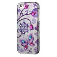 Insten Multi-Color Butterfly Dancing Hard Snap-on Case Cover with Diamond For Apple iPhone 5/5S/SE