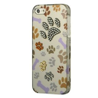 Insten Multi-Color Paws Hard Snap-on Case Cover with Diamond For Apple iPhone 5/5S/SE