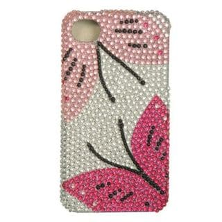 Insten Silver/Pink Hard Snap-on Diamond Bling Case Cover For Apple iPhone 4/4S