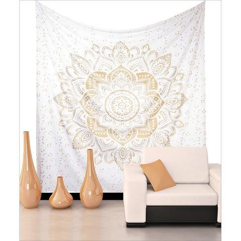Bohemian Mandala Tapestry Wall Hanging Indian Gold Throw