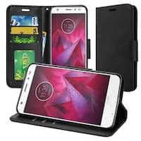 Insten Black Leatherette Case Cover with Stand/ Wallet Flap Pouch/ Photo Display For Motorola Moto Z2 Force Edition/ Z2 Play