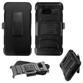 Insten Black Advanced Armor Hard Snap-on Dual Layer Hybrid Case Cover with Stand/ Holster For HTC U11