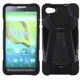Insten Black Inverse Advanced Armor Hard Snap-on Dual Layer Hybrid Case Cover with Stand For Alcatel Pulsemix