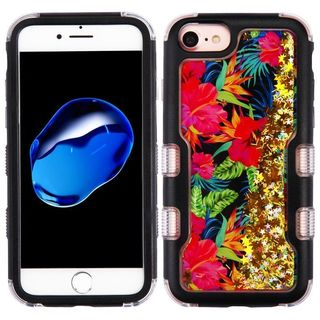 Insten Colorful Electric Hibiscus Quicksand Glitter Hard Snap-on Dual Layer Hybrid Case Cover For Apple iPhone 6/ 6s/ 7