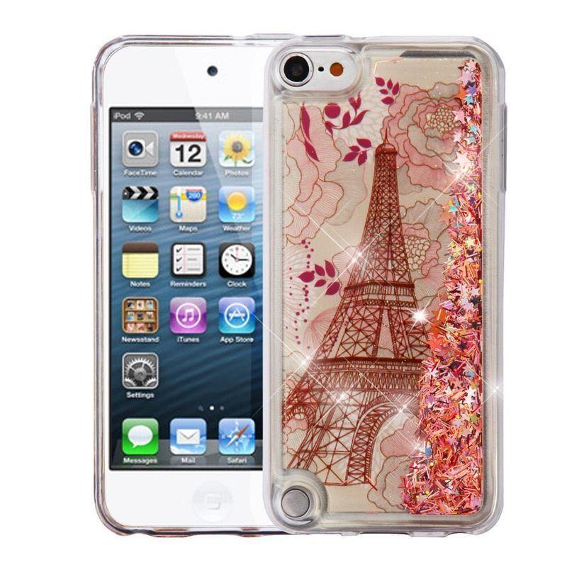 Insten Rose Gold Eiffel Tower Quicksand Glitter Hard Snap...