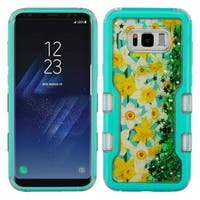 Insten Green/ Teal Spring Daffodils Quicksand Glitter Hard Snap-on Dual Layer Hybrid Case Cover For Samsung Galaxy S8
