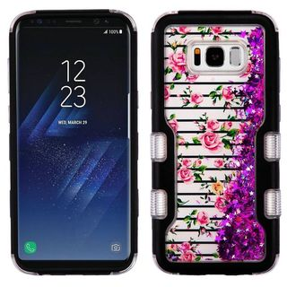 Insten Colorful Roses Quicksand Glitter Hard Snap-on Dual Layer Hybrid Case Cover For Samsung Galaxy S8