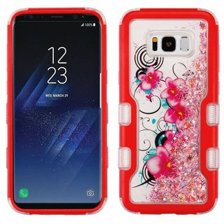 Insten Red/ Pink Morning Petunias Quicksand Glitter Hard Snap-on Dual Layer Hybrid Case Cover For Samsung Galaxy S8 Plus S8+