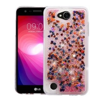 Insten Colorful Hearts Quicksand Glitter Hard Snap-on Case Cover For LG X Power 2